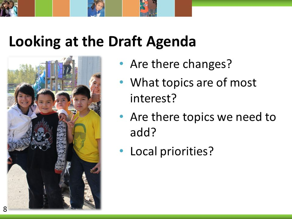 Looking at the Draft Agenda Are there changes.What topics are of most interest.