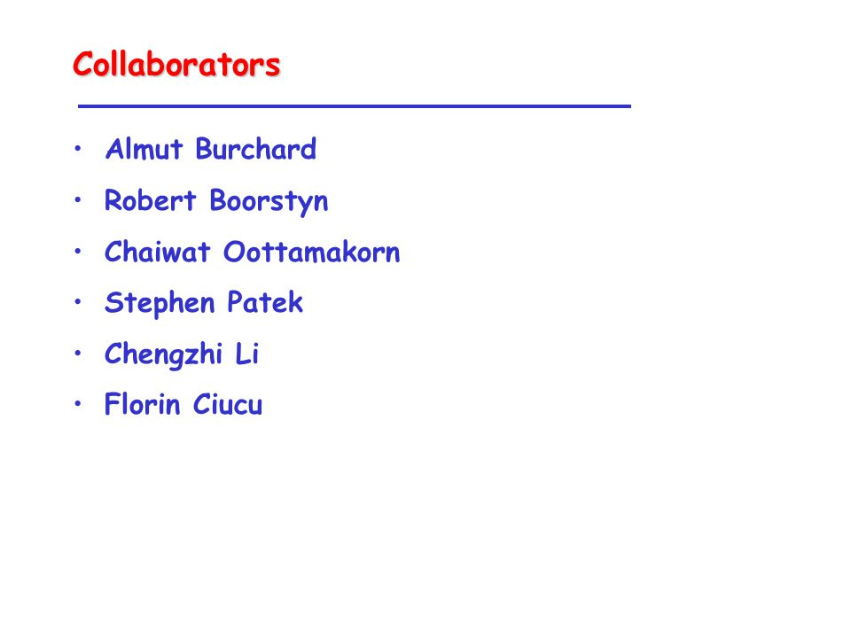 Collaborators Almut Burchard Robert Boorstyn Chaiwat Oottamakorn Stephen Patek Chengzhi Li Florin Ciucu
