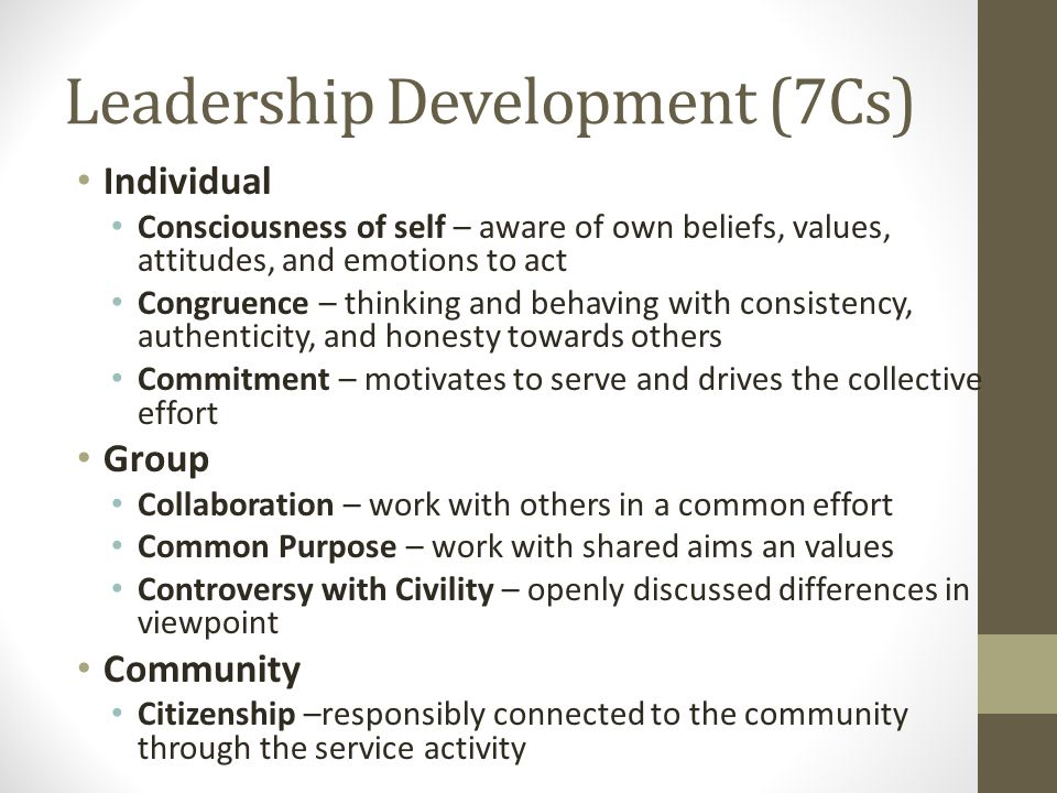 Leadership Development (7Cs) Individual Consciousness of self – aware of own beliefs, values, attitudes, and emotions to act Congruence – thinking and behaving with consistency, authenticity, and honesty towards others Commitment – motivates to serve and drives the collective effort Group Collaboration – work with others in a common effort Common Purpose – work with shared aims an values Controversy with Civility – openly discussed differences in viewpoint Community Citizenship –responsibly connected to the community through the service activity (Source: Reitenauer 2005)