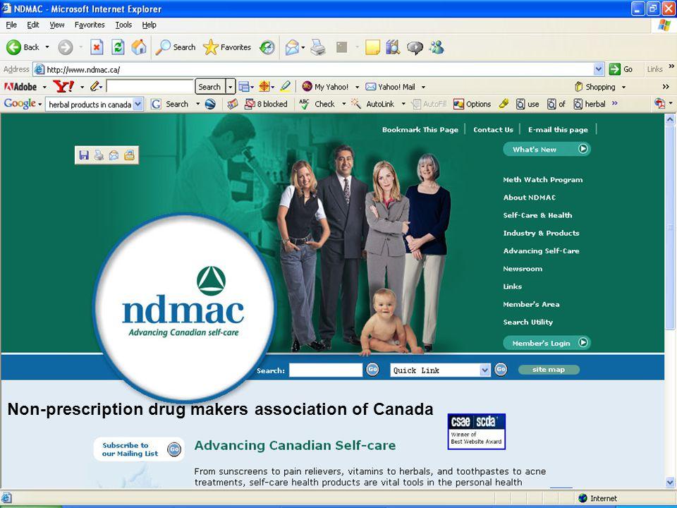 Non-prescription drug makers association of Canada