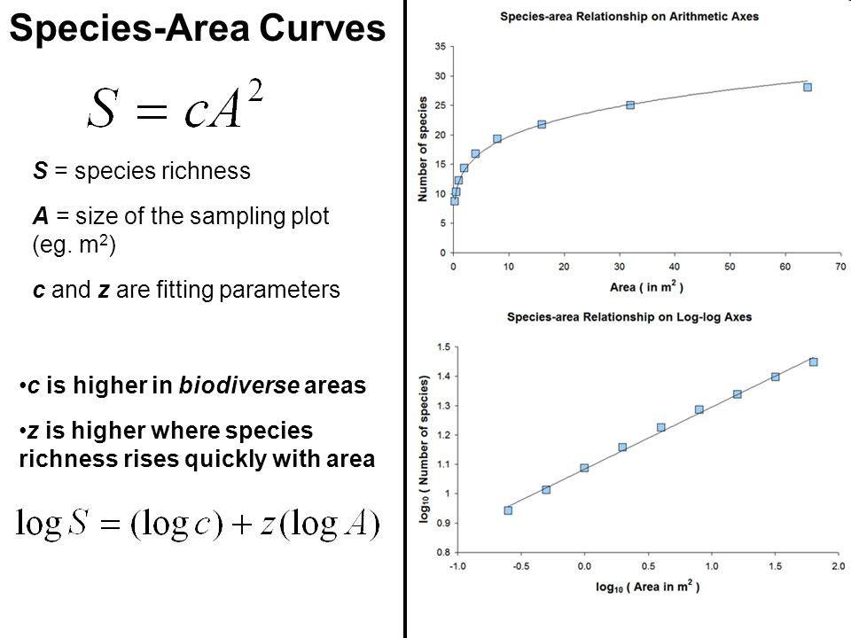 Species-Area Curves S = species richness A = size of the sampling plot (eg.