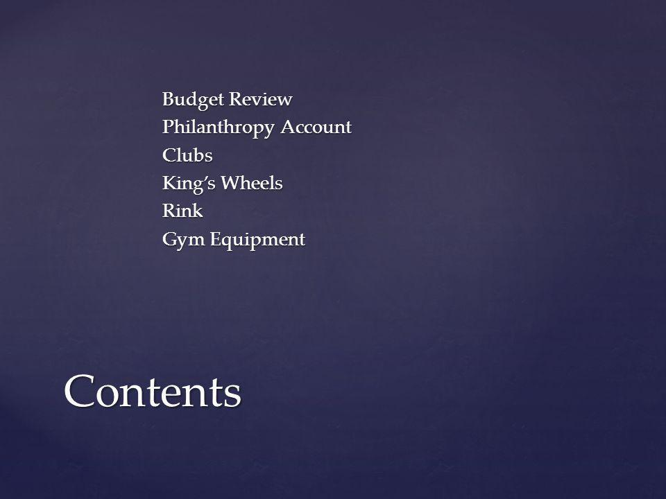 Budget Review Philanthropy Account Clubs King's Wheels Rink Gym Equipment Contents