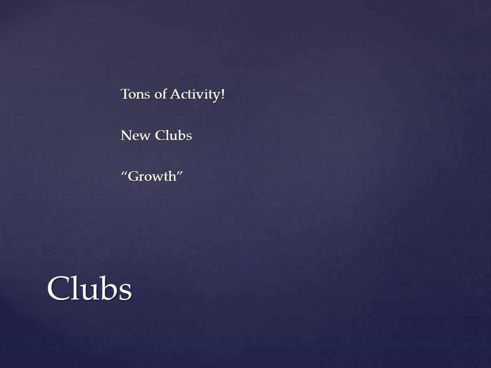 Tons of Activity! New Clubs Growth Clubs