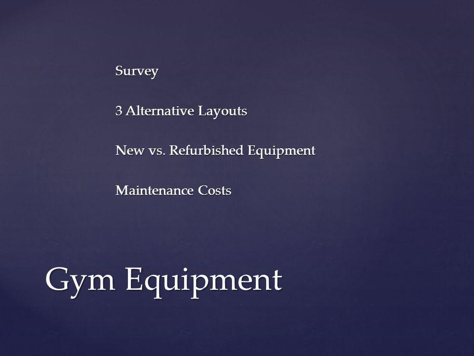 Survey 3 Alternative Layouts New vs. Refurbished Equipment Maintenance Costs Gym Equipment
