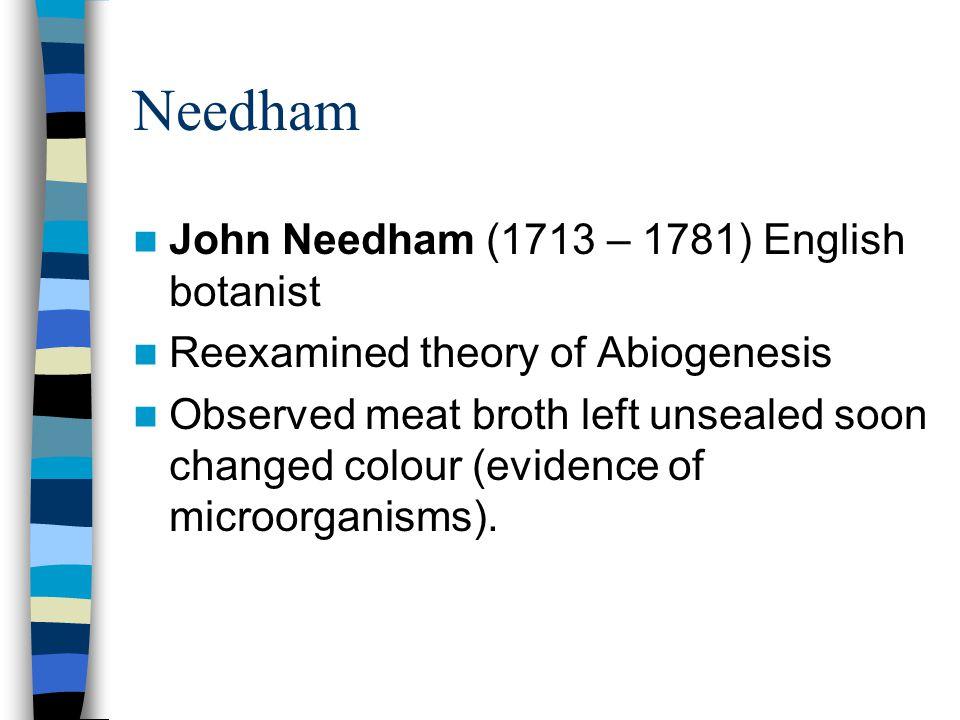Needham John Needham (1713 – 1781) English botanist Reexamined theory of Abiogenesis Observed meat broth left unsealed soon changed colour (evidence o