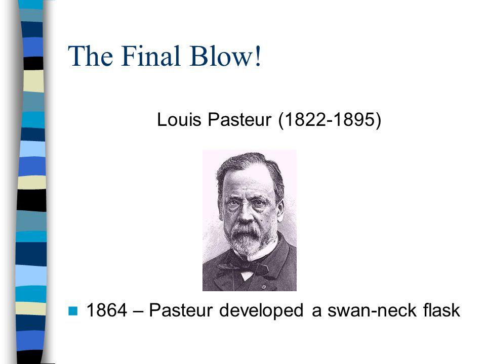 The Final Blow! Louis Pasteur (1822-1895) 1864 – Pasteur developed a swan-neck flask