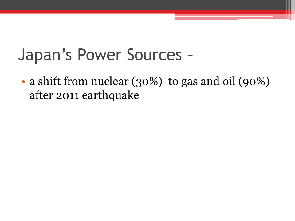 Japan's Power Sources – a shift from nuclear (30%) to gas and oil (90%) after 2011 earthquake