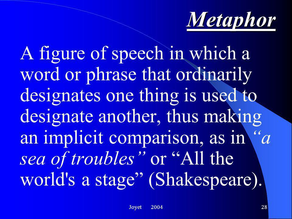 Joyet Metaphor A poetic comparison that does not use the words like or as.