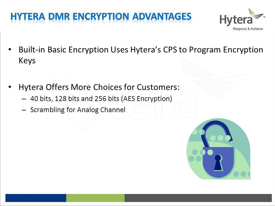 Built-in Basic Encryption Uses Hytera's CPS to Program Encryption Keys Hytera Offers More Choices for Customers: – 40 bits, 128 bits and 256 bits (AES