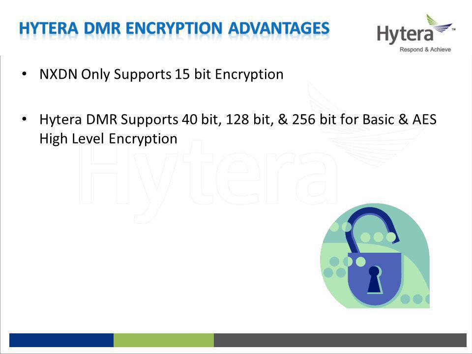 NXDN Only Supports 15 bit Encryption Hytera DMR Supports 40 bit, 128 bit, & 256 bit for Basic & AES High Level Encryption