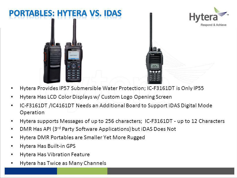 Hytera Provides IP57 Submersible Water Protection; IC-F3161DT is Only IP55 Hytera Has LCD Color Displays w/ Custom Logo Opening Screen IC-F3161DT /IC4