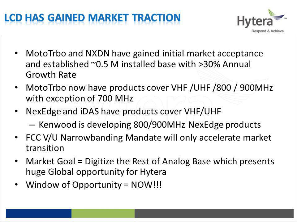 MotoTrbo and NXDN have gained initial market acceptance and established ~0.5 M installed base with >30% Annual Growth Rate MotoTrbo now have products