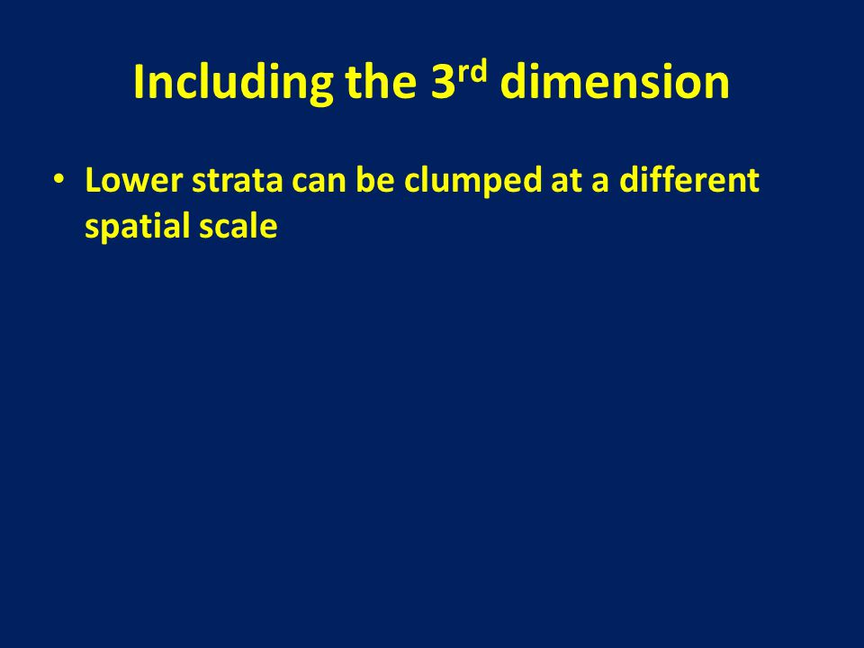 Including the 3 rd dimension Lower strata can be clumped at a different spatial scale