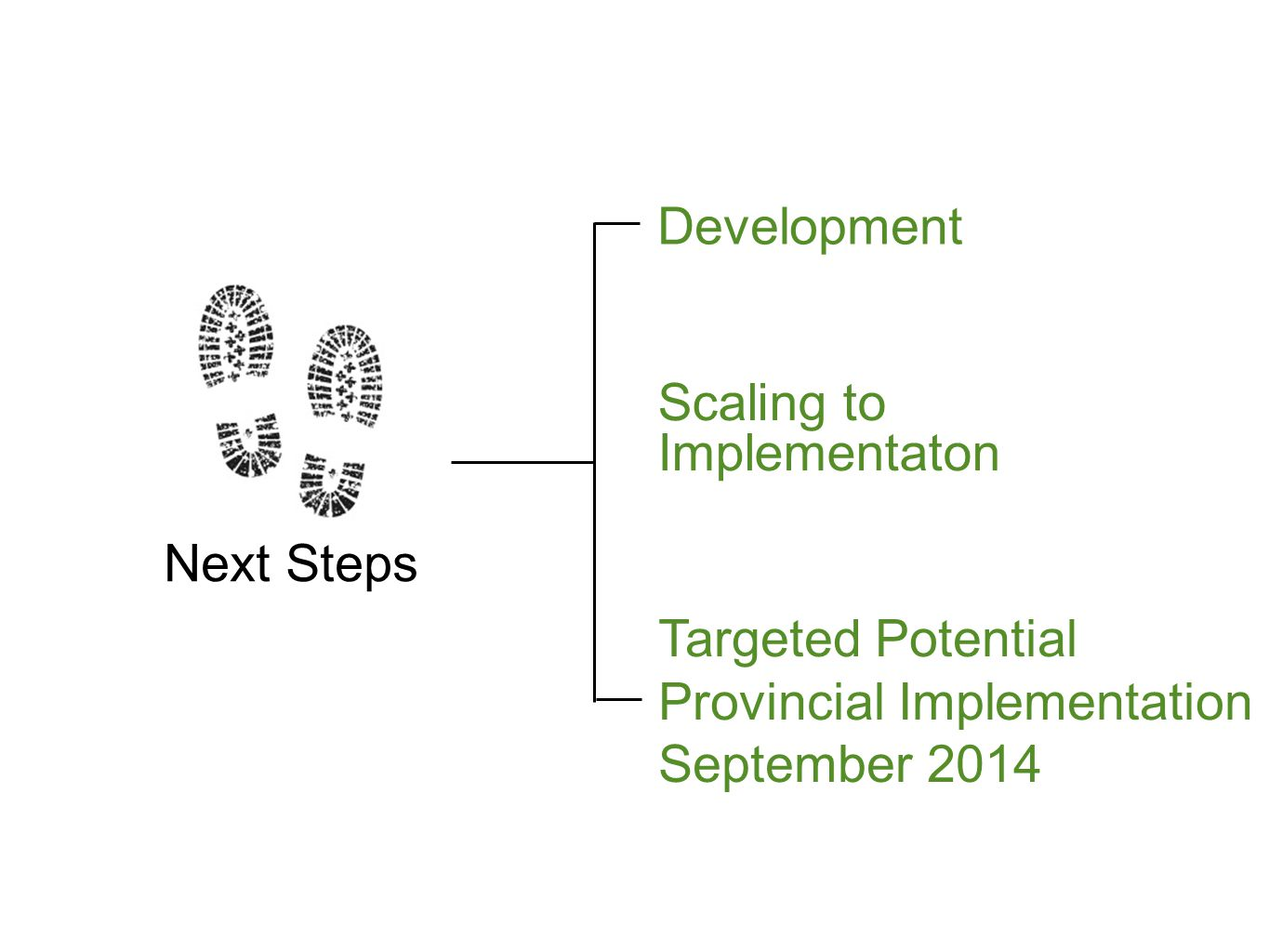 Development Scaling to Implementaton Targeted Potential Provincial Implementation September 2014 Next Steps