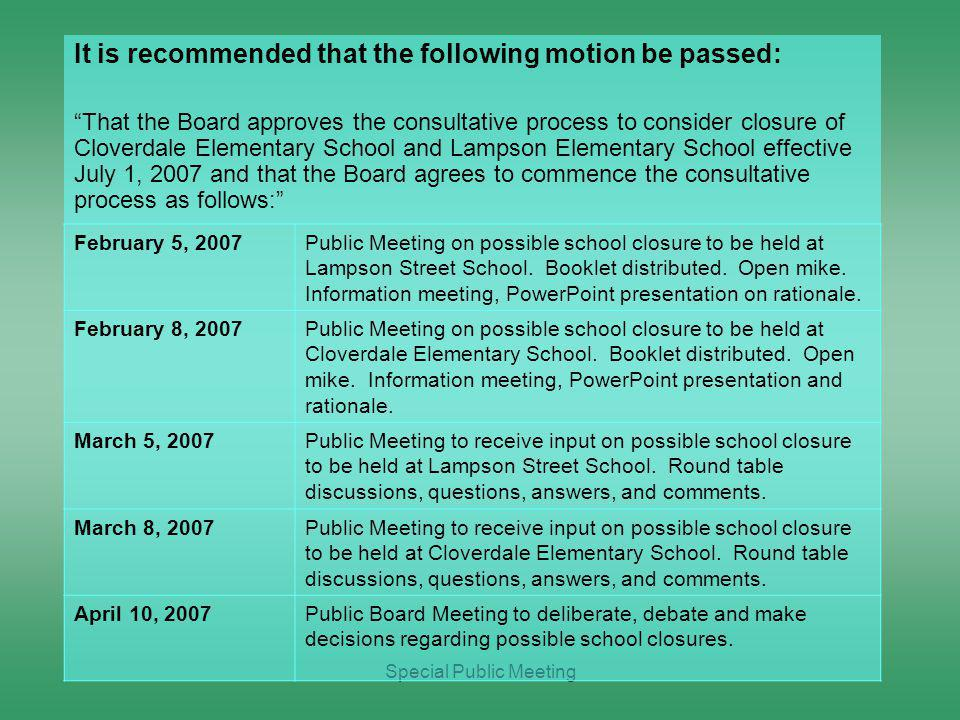 Special Public Meeting February 5, 2007Public Meeting on possible school closure to be held at Lampson Street School.