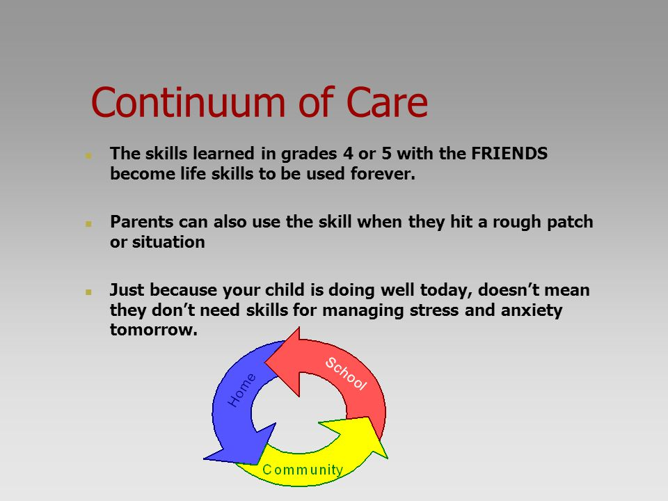 Continuum of Care The skills learned in grades 4 or 5 with the FRIENDS become life skills to be used forever. Parents can also use the skill when they