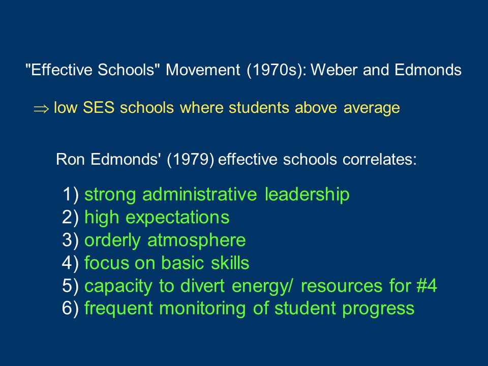 1) strong administrative leadership 2) high expectations 3) orderly atmosphere 4) focus on basic skills 5) capacity to divert energy/ resources for #4 6) frequent monitoring of student progress Effective Schools Movement (1970s): Weber and Edmonds Ron Edmonds (1979) effective schools correlates:  low SES schools where students above average