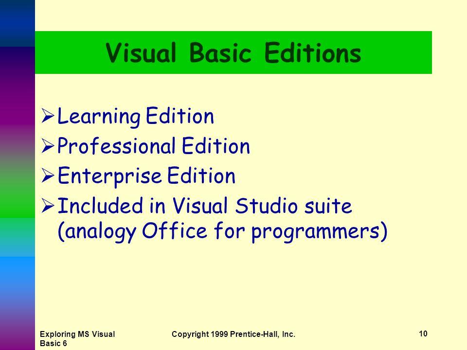 Exploring MS Visual Basic 6 Copyright 1999 Prentice-Hall, Inc.9 Background of Visual Basic  BASIC Included with DOS QBASIC - included with DOS Version 5 - subset of BASIC  Visual Basic 1992 - Visual Basic 1 for Windows 3 Visual Basic 4 - for Windows 95 Visual Basic 5 - for Office 97 Visual Basic 6 - for Windows 98 & Office 2000