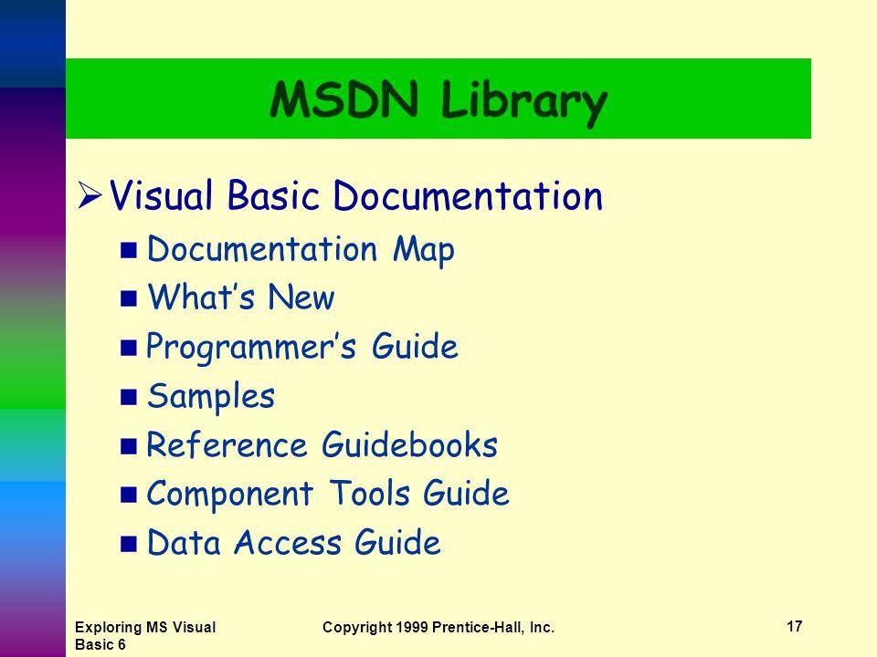 Exploring MS Visual Basic 6 Copyright 1999 Prentice-Hall, Inc.16 MSDN Library Topic Pane Navigation Pane