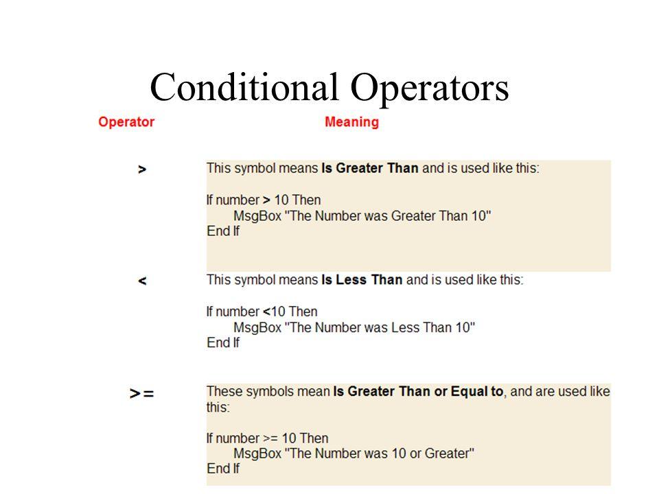 Conditional Operators