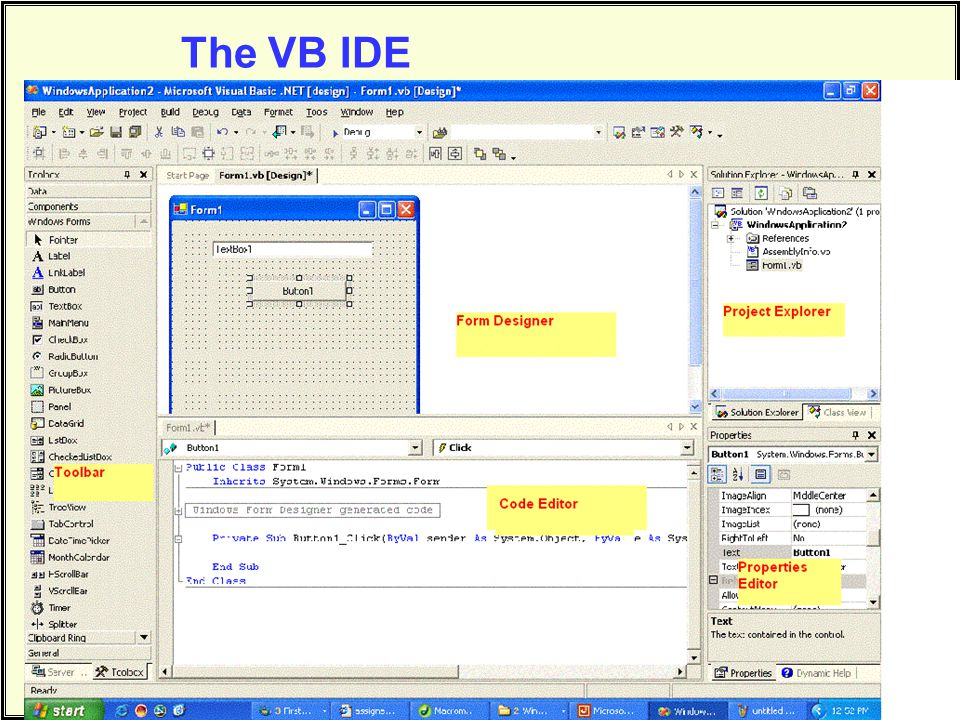 The VB IDE