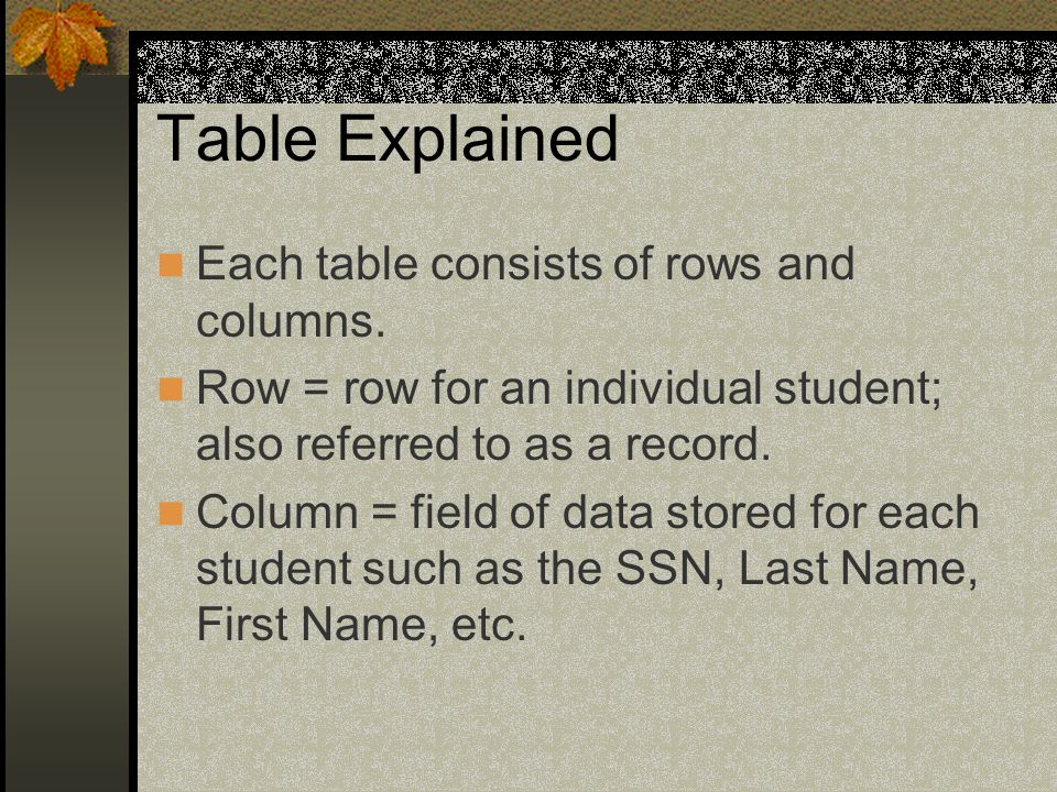Table Explained Each table consists of rows and columns.