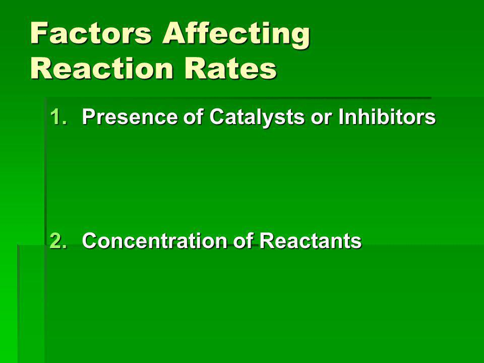 Factors Affecting Reaction Rates 1.Presence of Catalysts or Inhibitors 2.Concentration of Reactants