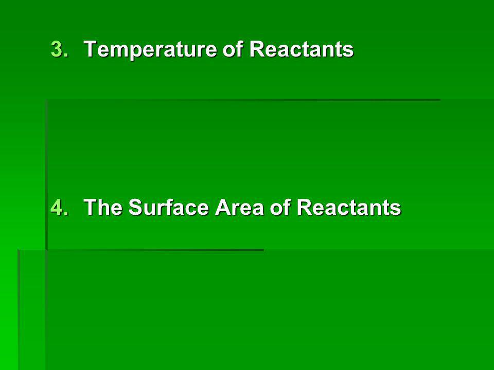 3.Temperature of Reactants 4.The Surface Area of Reactants