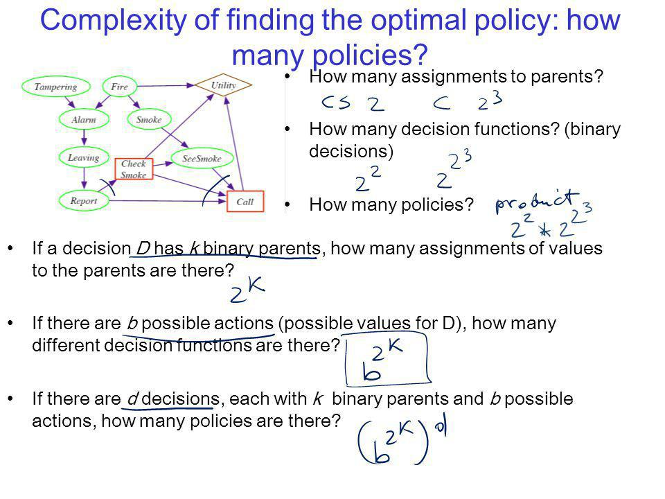 Complexity of finding the optimal policy: how many policies? If a decision D has k binary parents, how many assignments of values to the parents are t