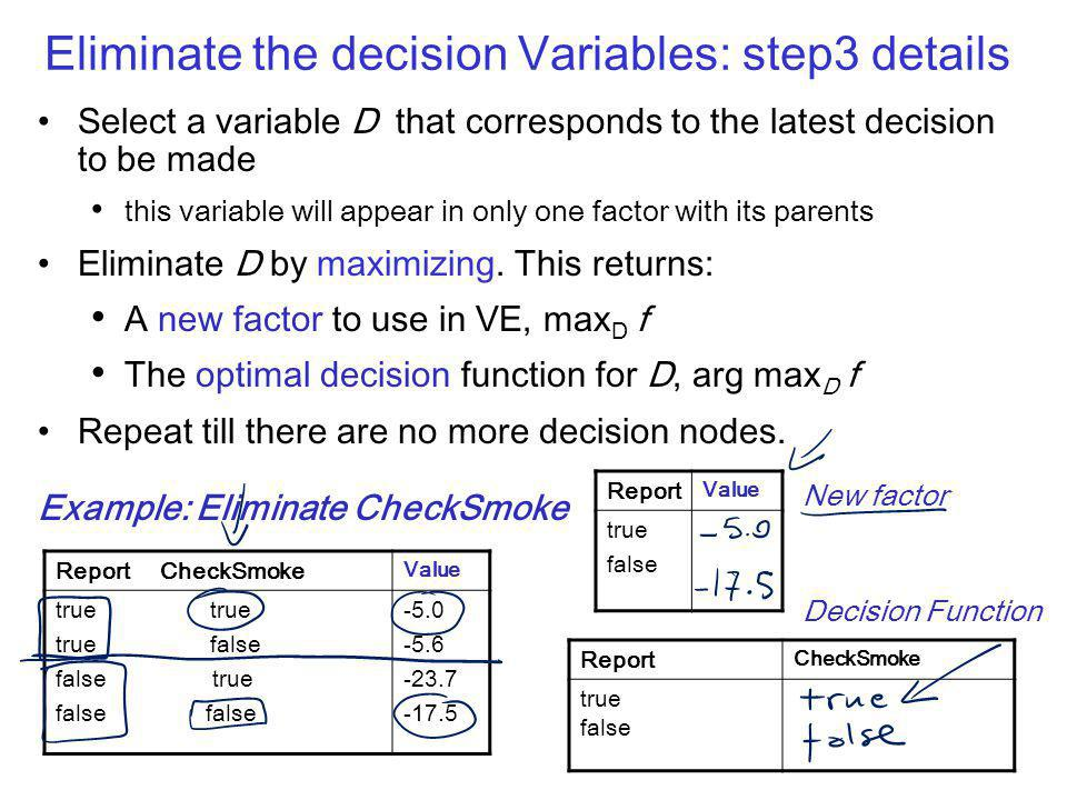 Eliminate the decision Variables: step3 details Select a variable D that corresponds to the latest decision to be made this variable will appear in only one factor with its parents Eliminate D by maximizing.