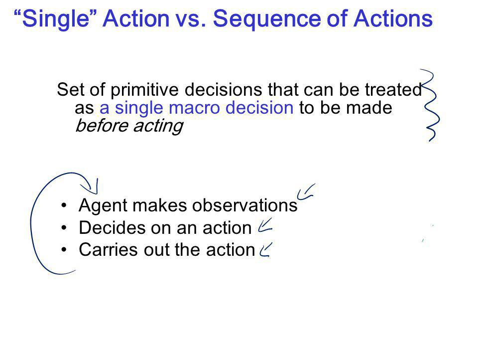 """Single"" Action vs. Sequence of Actions Set of primitive decisions that can be treated as a single macro decision to be made before acting Agent makes"