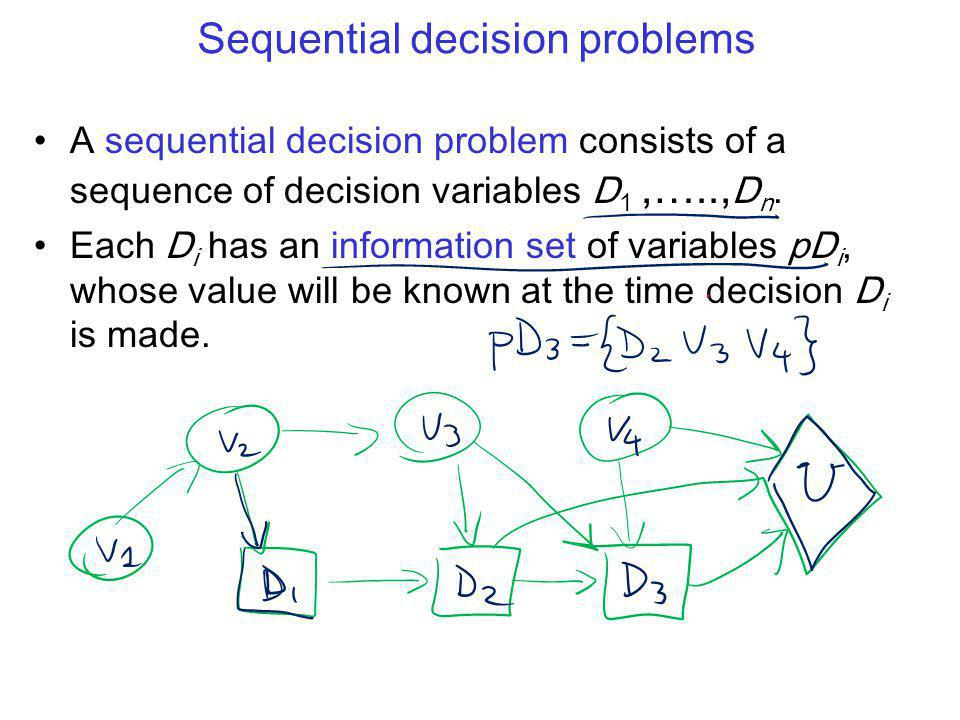 Sequential decision problems A sequential decision problem consists of a sequence of decision variables D 1,….., D n.