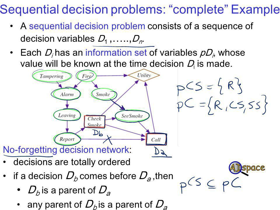 Sequential decision problems: complete Example A sequential decision problem consists of a sequence of decision variables D 1,….., D n.