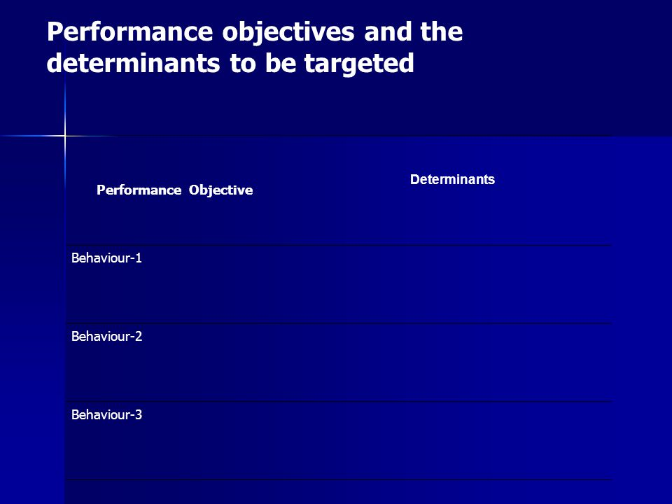 Performance Objective Determinants Behaviour-1 Behaviour-2 Behaviour-3 Performance objectives and the determinants to be targeted