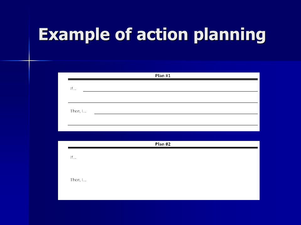 Example of action planning
