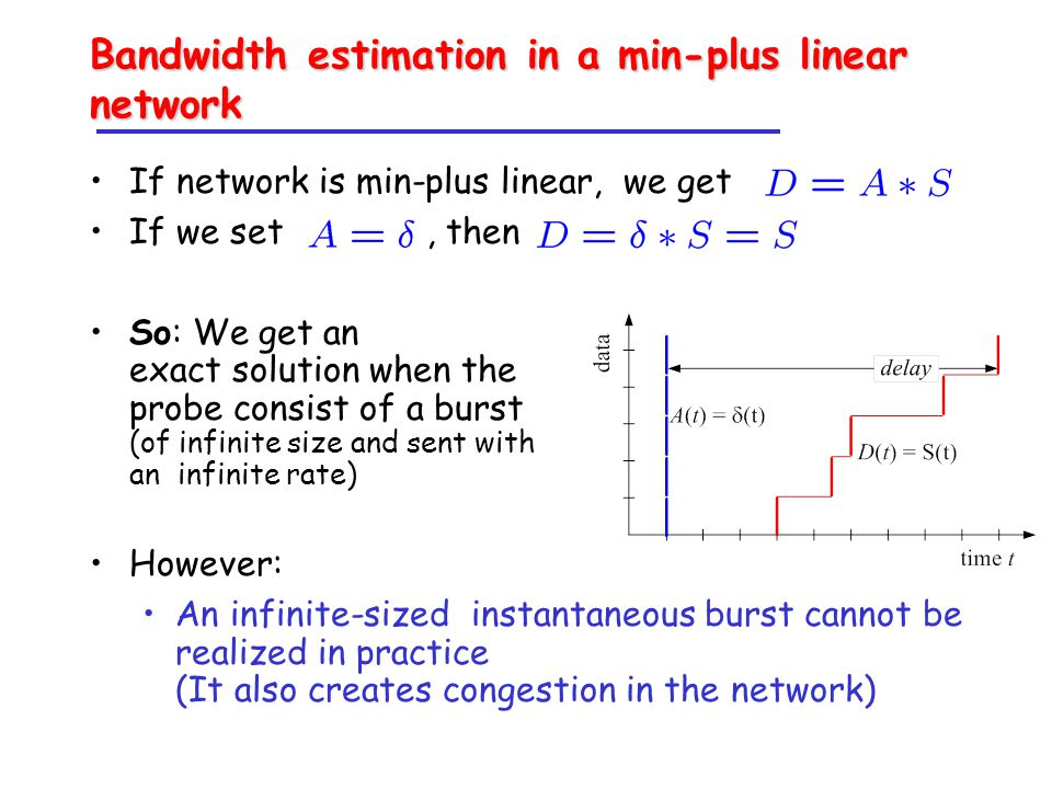 Bandwidth estimation in a min-plus linear network If network is min-plus linear, we get If we set, then So: We get an exact solution when the probe consist of a burst (of infinite size and sent with an infinite rate) However: An infinite-sized instantaneous burst cannot be realized in practice (It also creates congestion in the network)