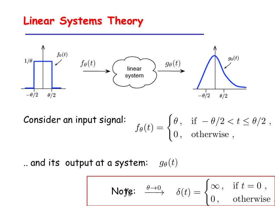 Consider an input signal:.. and its output at a system: Note: Linear Systems Theory