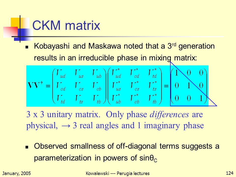 January, 2005 Kowalewski --- Perugia lectures 124 CKM matrix Kobayashi and Maskawa noted that a 3 rd generation results in an irreducible phase in mixing matrix: Observed smallness of off-diagonal terms suggests a parameterization in powers of sinθ C 3 x 3 unitary matrix.
