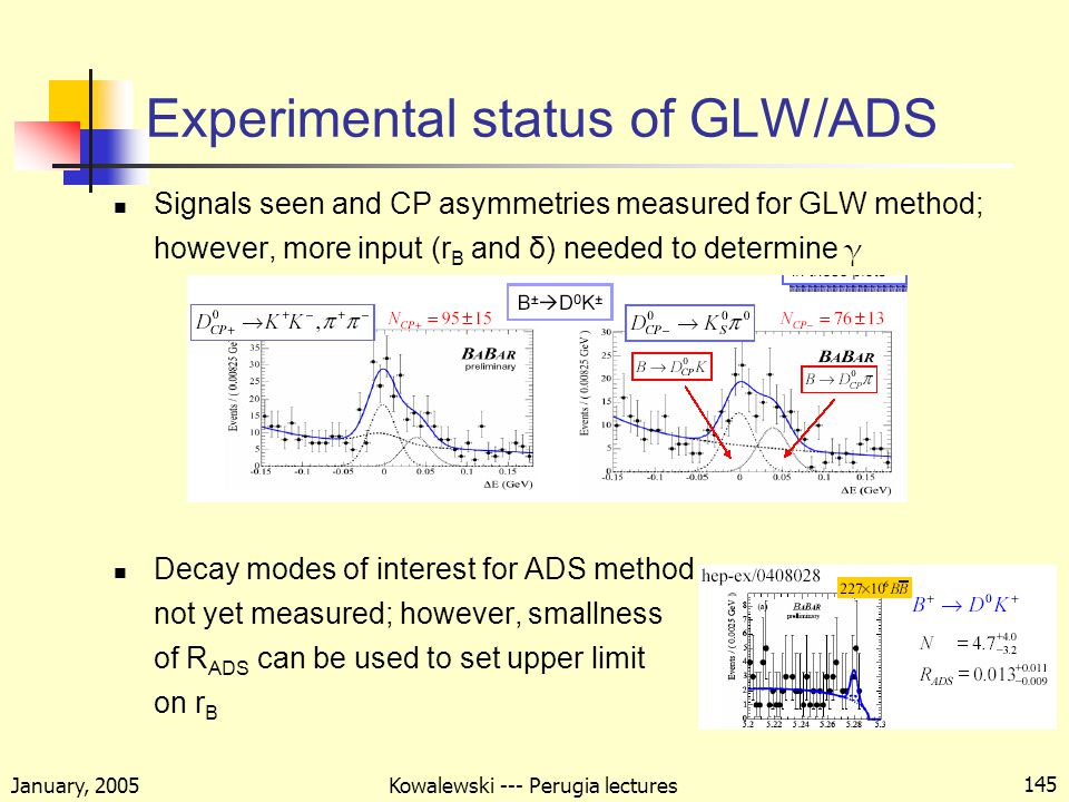 January, 2005 Kowalewski --- Perugia lectures 145 Experimental status of GLW/ADS Signals seen and CP asymmetries measured for GLW method; however, more input (r B and δ) needed to determine γ Decay modes of interest for ADS method not yet measured; however, smallness of R ADS can be used to set upper limit on r B