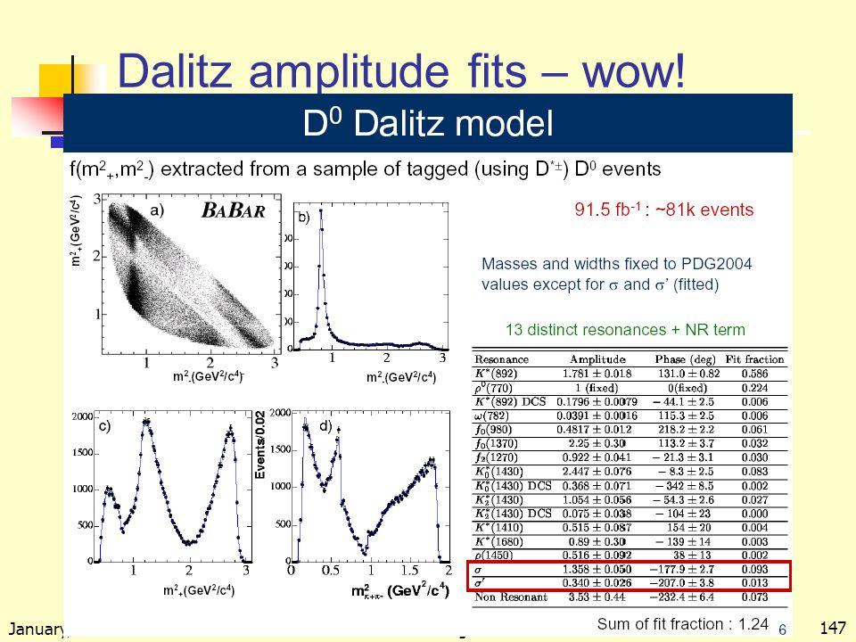 January, 2005 Kowalewski --- Perugia lectures 147 Dalitz amplitude fits – wow!
