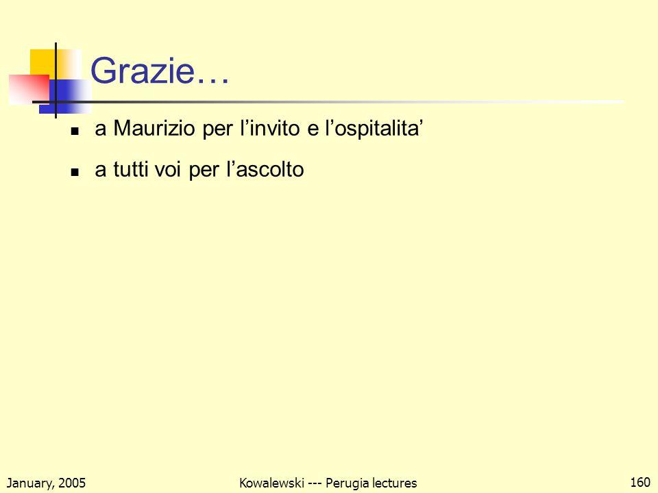 January, 2005 Kowalewski --- Perugia lectures 160 Grazie… a Maurizio per l'invito e l'ospitalita' a tutti voi per l'ascolto