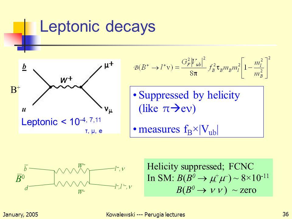 January, 2005 Kowalewski --- Perugia lectures 36 Leptonic decays Leptonic < 10 -4, 7,11 τ, μ, e b u Suppressed by helicity (like π  e ν ) measures f B ×|V ub | b d l +, W+W+ W–W– l –,l' –, B0B0 Helicity suppressed; FCNC In SM: B(B 0   +  – ) ~ 8×10 -11 B(B 0  ) ~ zero B+B+