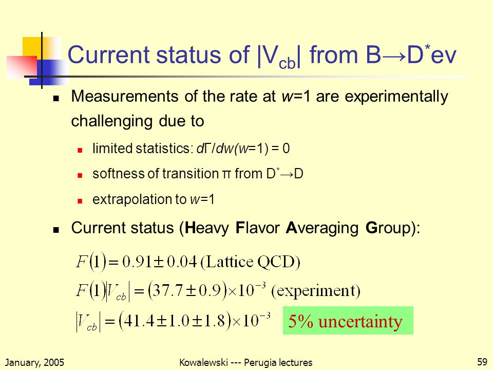 January, 2005 Kowalewski --- Perugia lectures 59 Current status of |V cb | from B→D * eν Measurements of the rate at w=1 are experimentally challenging due to limited statistics: dΓ/dw(w=1) = 0 softness of transition π from D * →D extrapolation to w=1 Current status (Heavy Flavor Averaging Group): 5% uncertainty