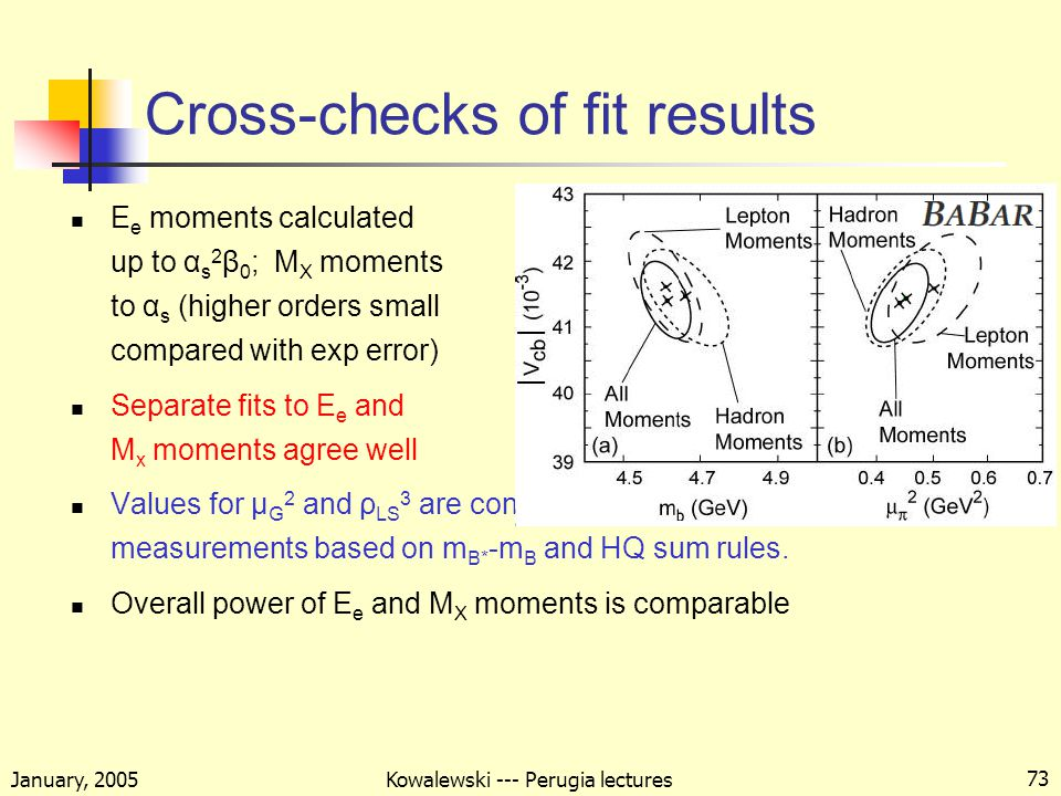 January, 2005 Kowalewski --- Perugia lectures 73 Cross-checks of fit results E e moments calculated up to α s 2 β 0 ; M X moments to α s (higher orders small compared with exp error) Separate fits to E e and M x moments agree well Values for μ G 2 and ρ LS 3 are consistent with independent measurements based on m B* -m B and HQ sum rules.