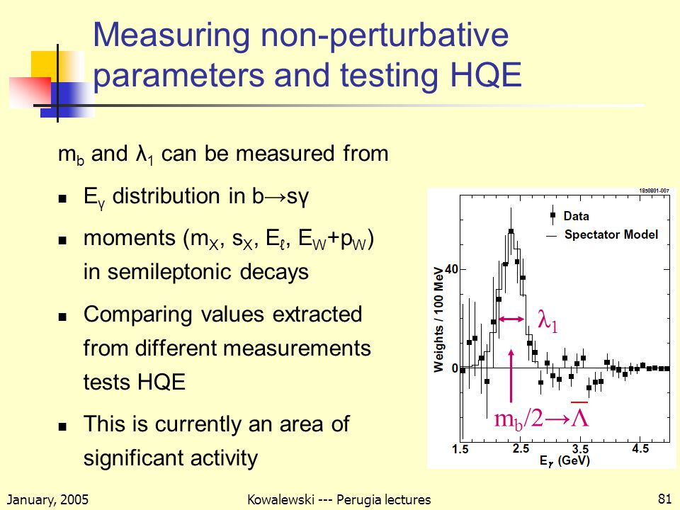January, 2005 Kowalewski --- Perugia lectures 81 Measuring non-perturbative parameters and testing HQE m b and λ 1 can be measured from E γ distribution in b→sγ moments (m X, s X, E ℓ, E W +p W ) in semileptonic decays Comparing values extracted from different measurements tests HQE This is currently an area of significant activity λ1λ1 m b /2→Λ