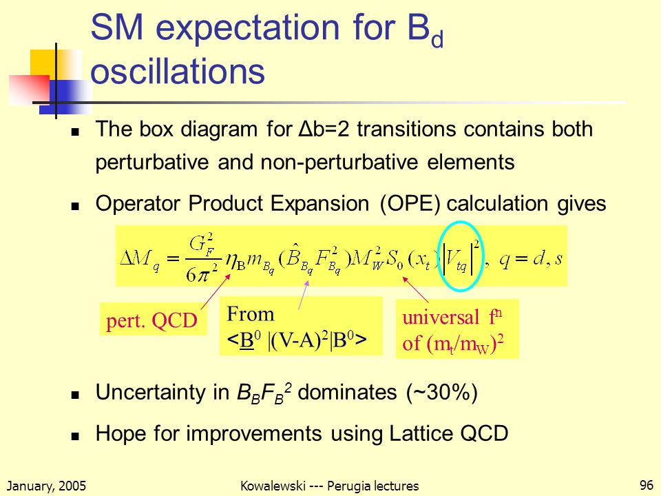 January, 2005 Kowalewski --- Perugia lectures 96 SM expectation for B d oscillations The box diagram for Δb=2 transitions contains both perturbative and non-perturbative elements Operator Product Expansion (OPE) calculation gives Uncertainty in B B F B 2 dominates (~30%) Hope for improvements using Lattice QCD pert.