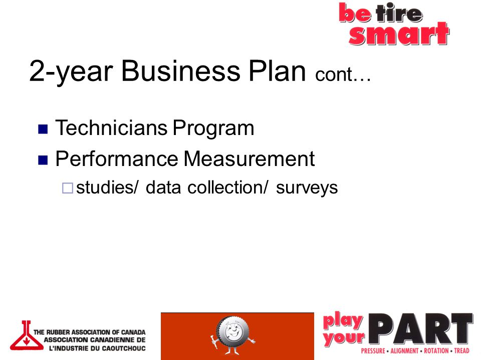 2-year Business Plan cont… Technicians Program Performance Measurement  studies/ data collection/ surveys