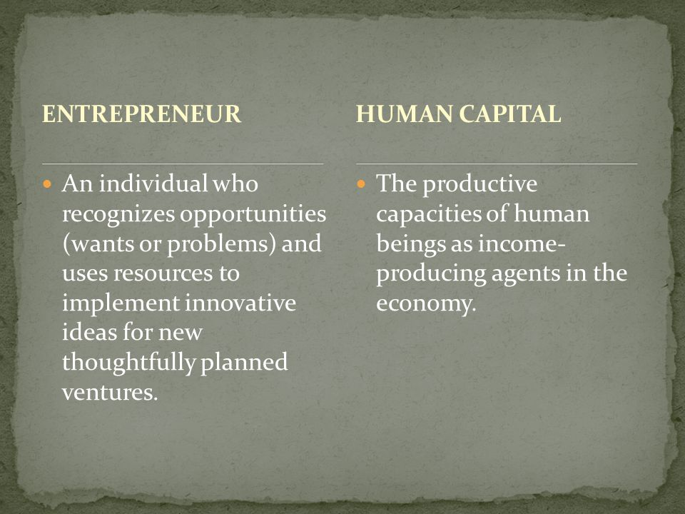 ENTREPRENEUR An individual who recognizes opportunities (wants or problems) and uses resources to implement innovative ideas for new thoughtfully planned ventures.
