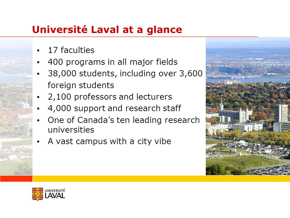 Université Laval at a glance 17 faculties 400 programs in all major fields 38,000 students, including over 3,600 foreign students 2,100 professors and lecturers 4,000 support and research staff One of Canada's ten leading research universities A vast campus with a city vibe