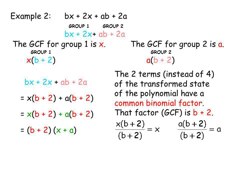 bx + 2x GROUP 1 + ab + 2a GROUP 2 bx + 2x + ab + 2aExample 2: The GCF for group 1 is x. x(b + 2) GROUP 1 a(b + 2) GROUP 2 bx + 2x + ab + 2a = x(b + 2)